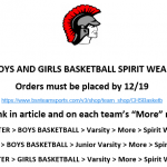 2018-2019 Boy's and Girl's Basketball Spirit Wear