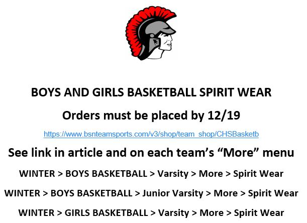 2018-2019 Boy's and Girl's Basketball Spirit Wear