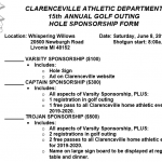 Clarenceville Athletics Golf Outing Hole Sponsorship Form