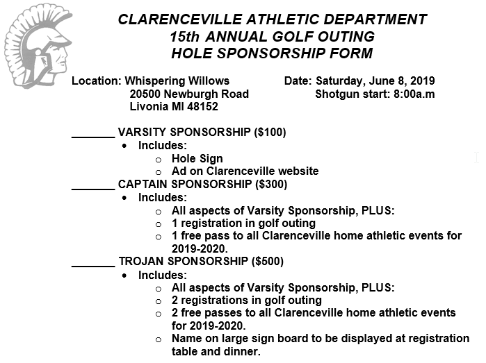 Clarenceville Athletics Golf Outing Hole Sponsorship Form