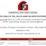 Varsity Football Aug 28 Finale Postponed to Aug 29