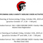 UPCOMING GIRLS VARSITY SIDELINE CHEER ACTIVITIES