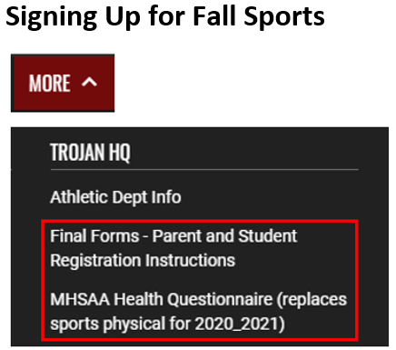 Signing Up for Fall Sports