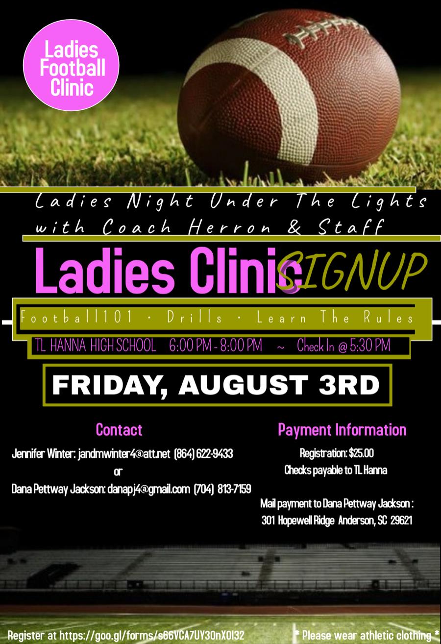 Ladies Football Clinic – Aug. 3rd!