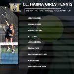 3rd Round Tennis Match Friday @ Wade Hampton