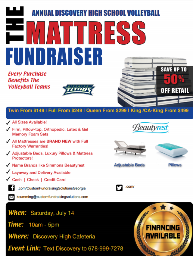 Discovery Volleyball One Day Mattress Sale!!!!