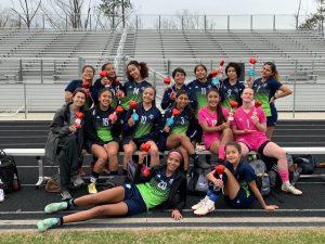 The Girls Varsity team vs. Norcross on Valentine's Day