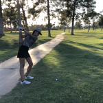 Golf player about to hit the ball.