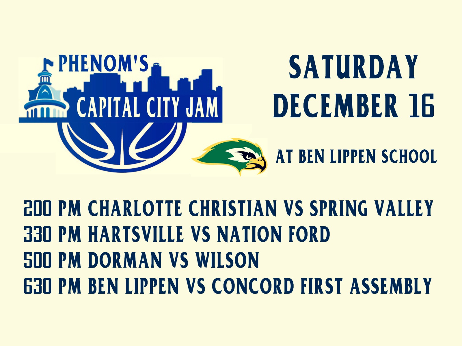 Ben Lippen Basketball to Host Phenom's Capital City Jam on Saturday, Dec 16