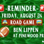 Friday's (Aug 24) Varsity Football Game is AT Pinewood Prep