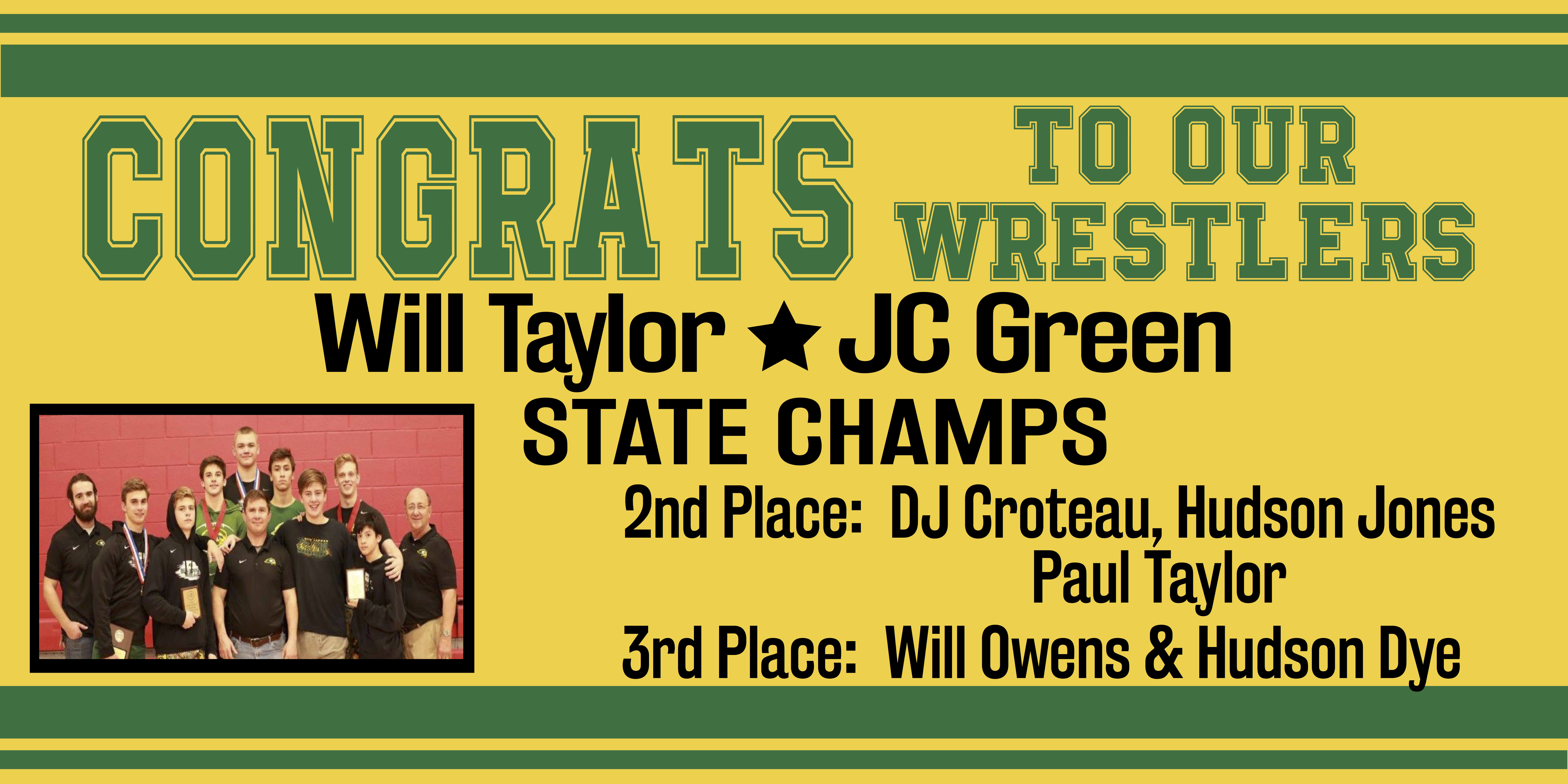 Falcons Will Taylor and JC Green Win Wrestling State Championships