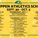 Schedule week of Sep 30 – Oct 5