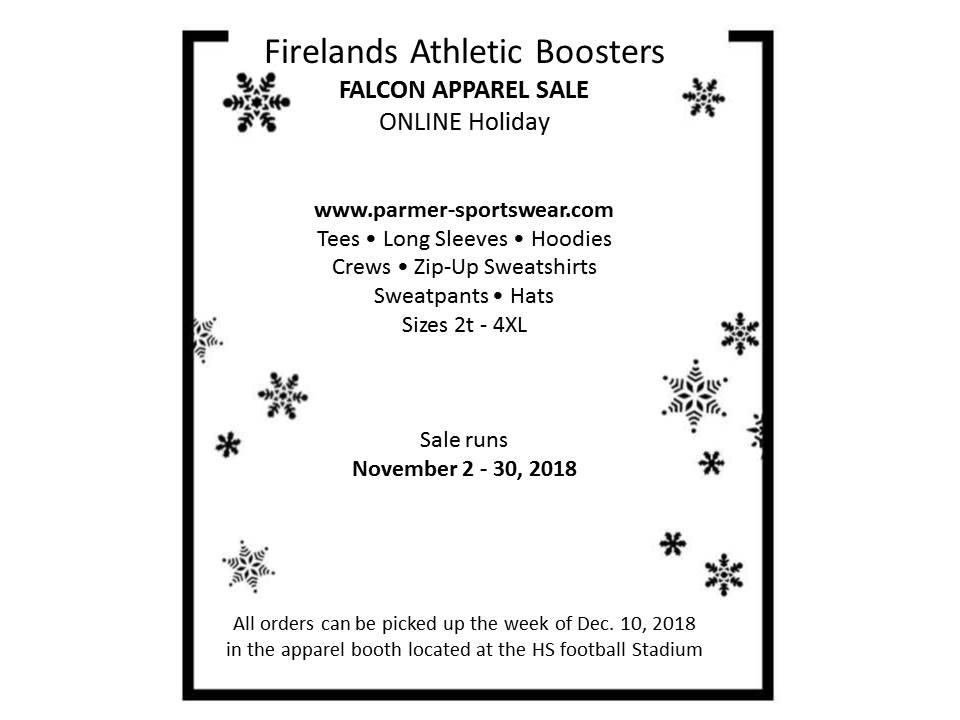 Athletic Boosters Online Holiday Apparel Sale Nov 2nd-30th