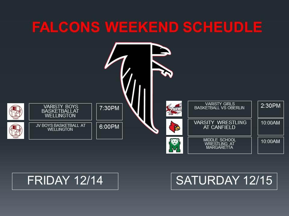 Falcons Weekend Schedule