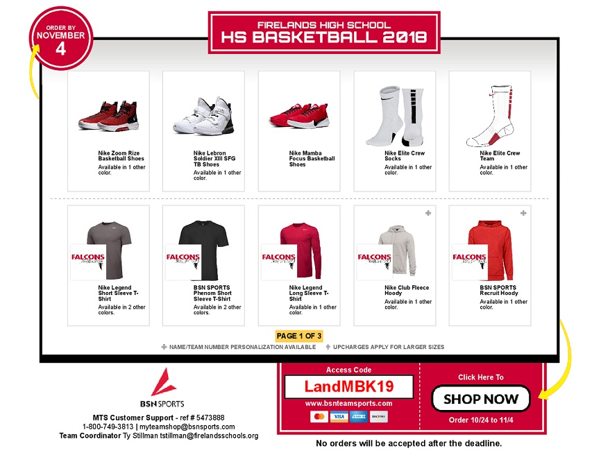 Firelands Basketball gear ONLINE Sale