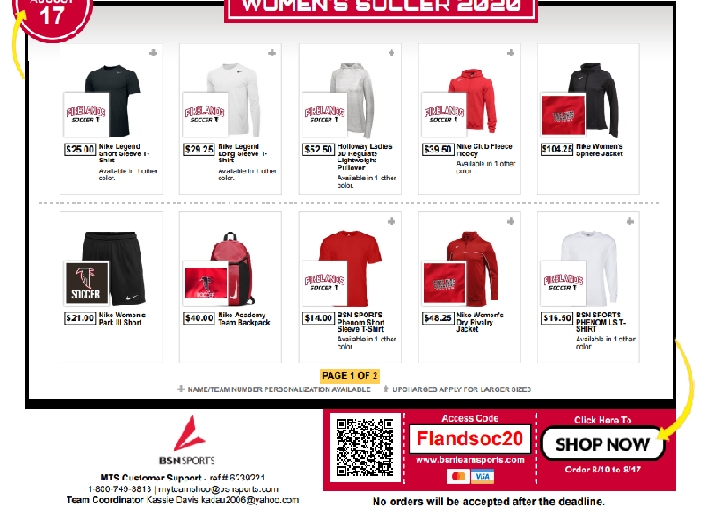 Girls Soccer Team Shop Now Open