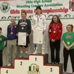 2 Raider Wrestlers Participate in the first ever Girls State Wrestling Tournament , with Peighton Irish-Arnett coming away with 4th place .
