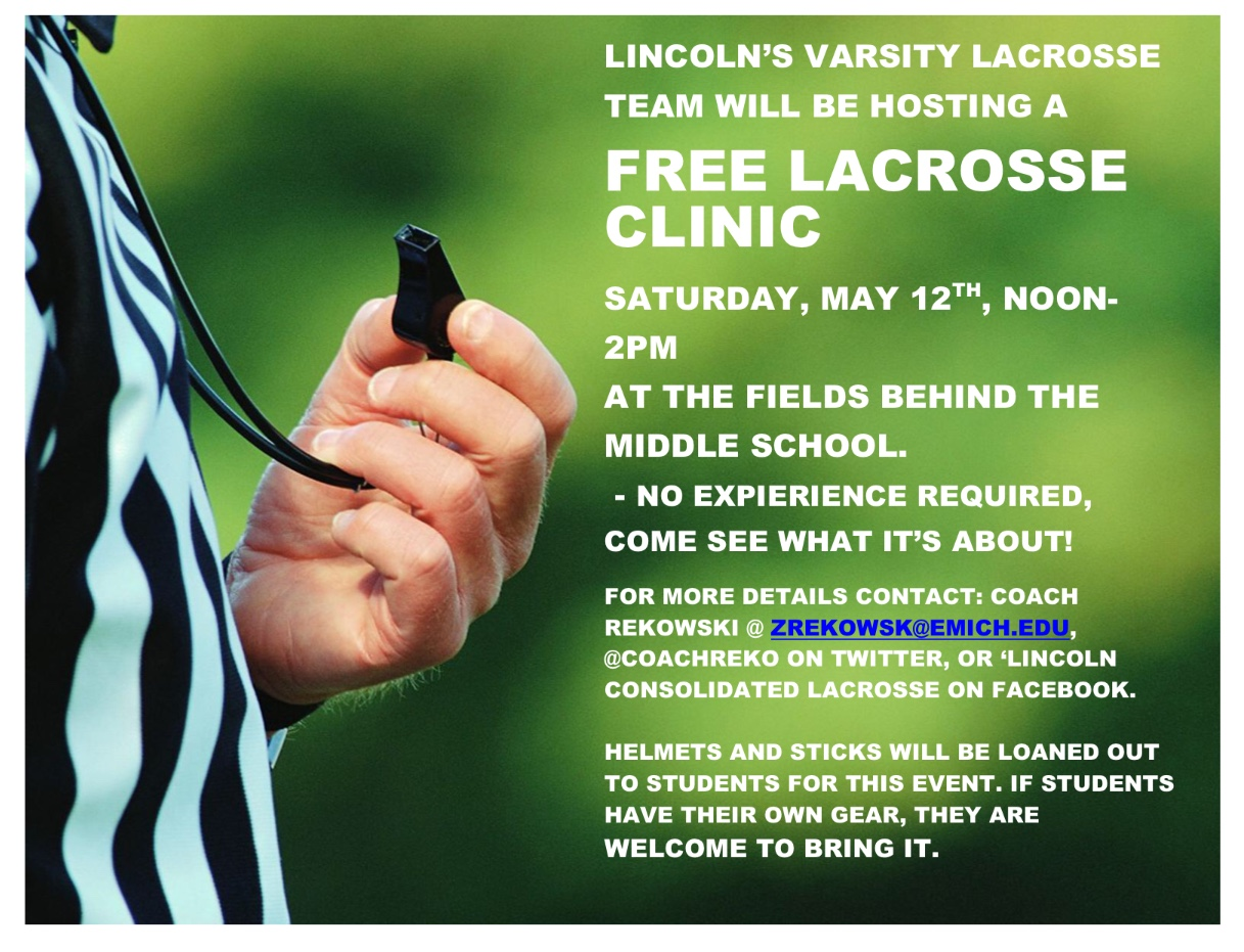 LHS Hosting FREE Lacrosse Clinic 5/12!