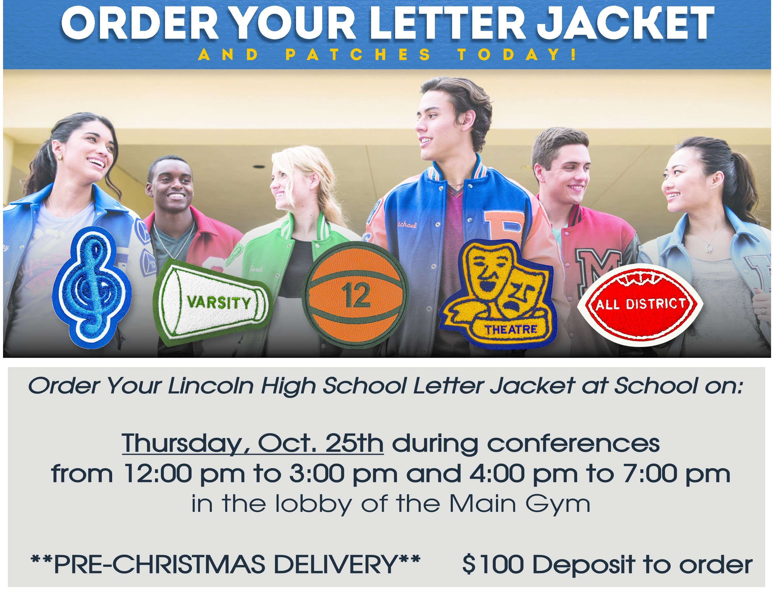 Varsity Jacket Event on October 25th