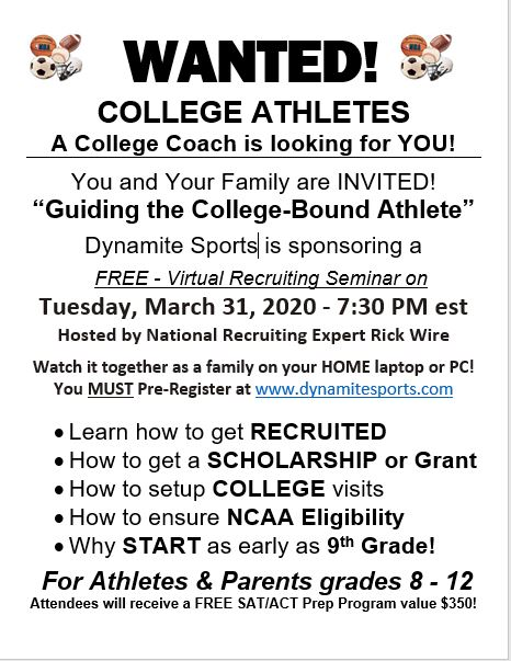 FREE Virtual Recruiting Seminar – Tuesday, March 31, 2020 7:30 p.m.