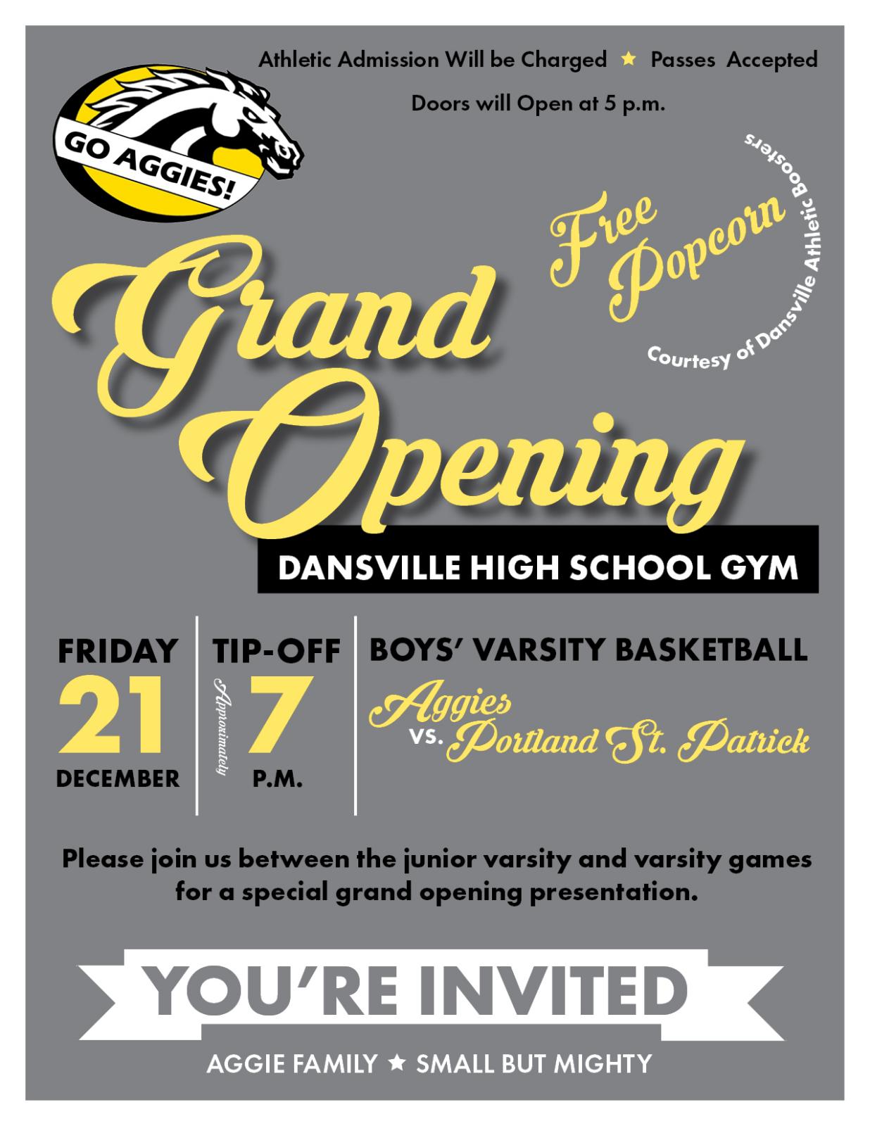 Grand Opening Dansville High School New Gym
