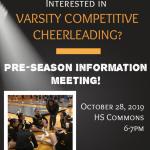 Varsity Competitive Cheer Pre-Season Information Meeting