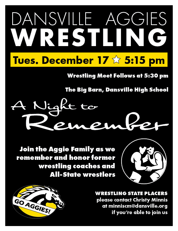 "Aggie Wrestling Hosts ""A Night to Remember,"" Tues., Dec. 17"
