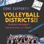 Dansville Volleyball District Game, Nov. 7, 7 pm