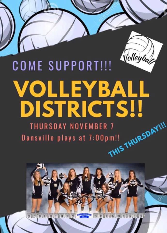 Dansville Volleyball District Game, Nov. 7, 7 pm