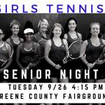 Girls Tennis Senior Night Tuesday 9/26