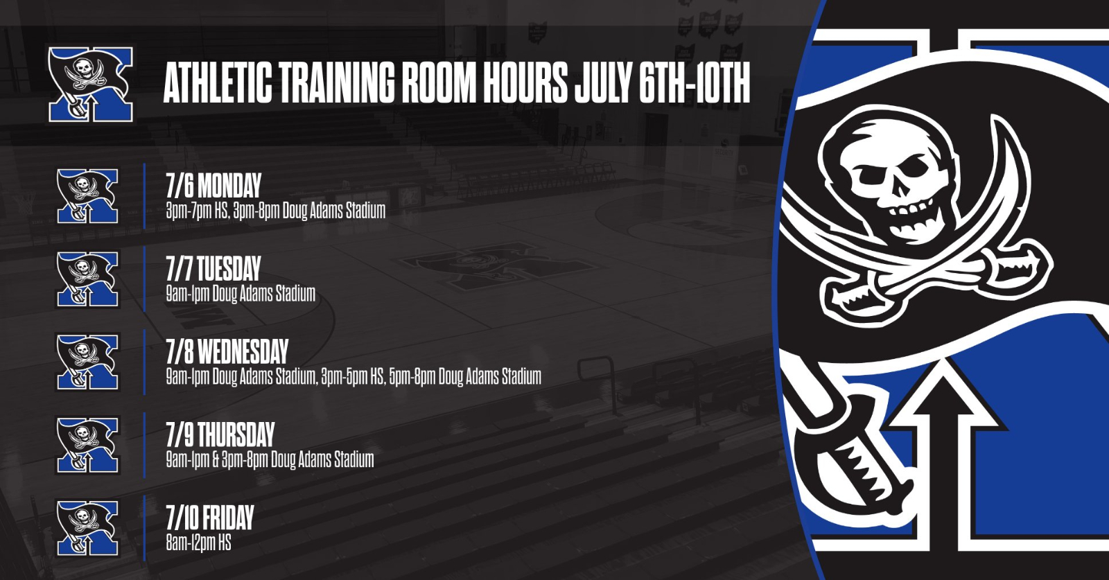 Athletic Training Room Hours July 6th- July 10th