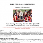 Cross Country Team Meeting for 2016 – Thursday, May 26th