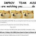 Auditions for PCHS Improv Team on October 28th