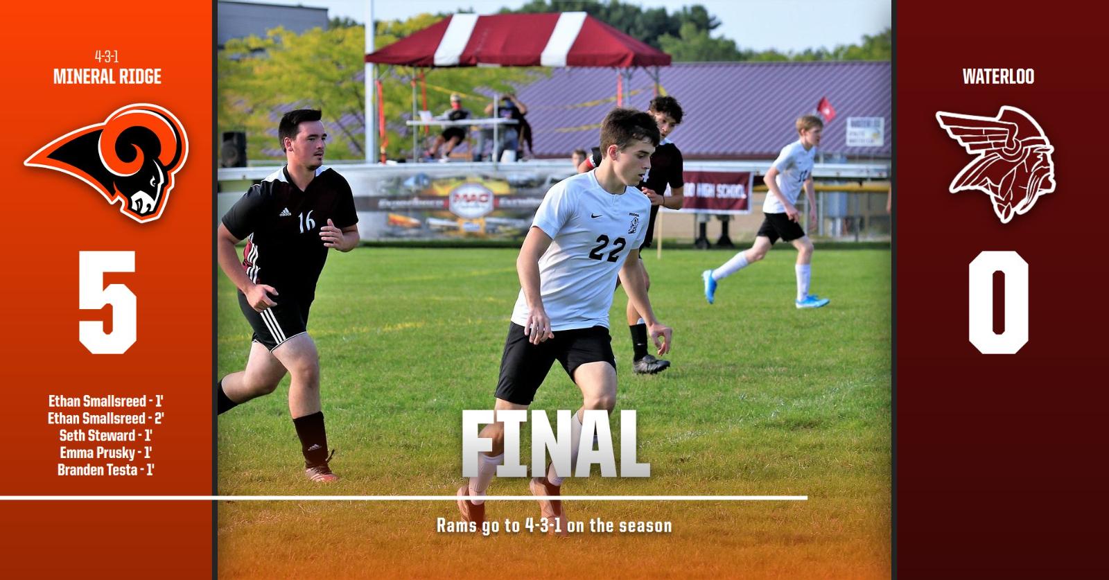 Boys Varsity Soccer beats Waterloo 5 – 0