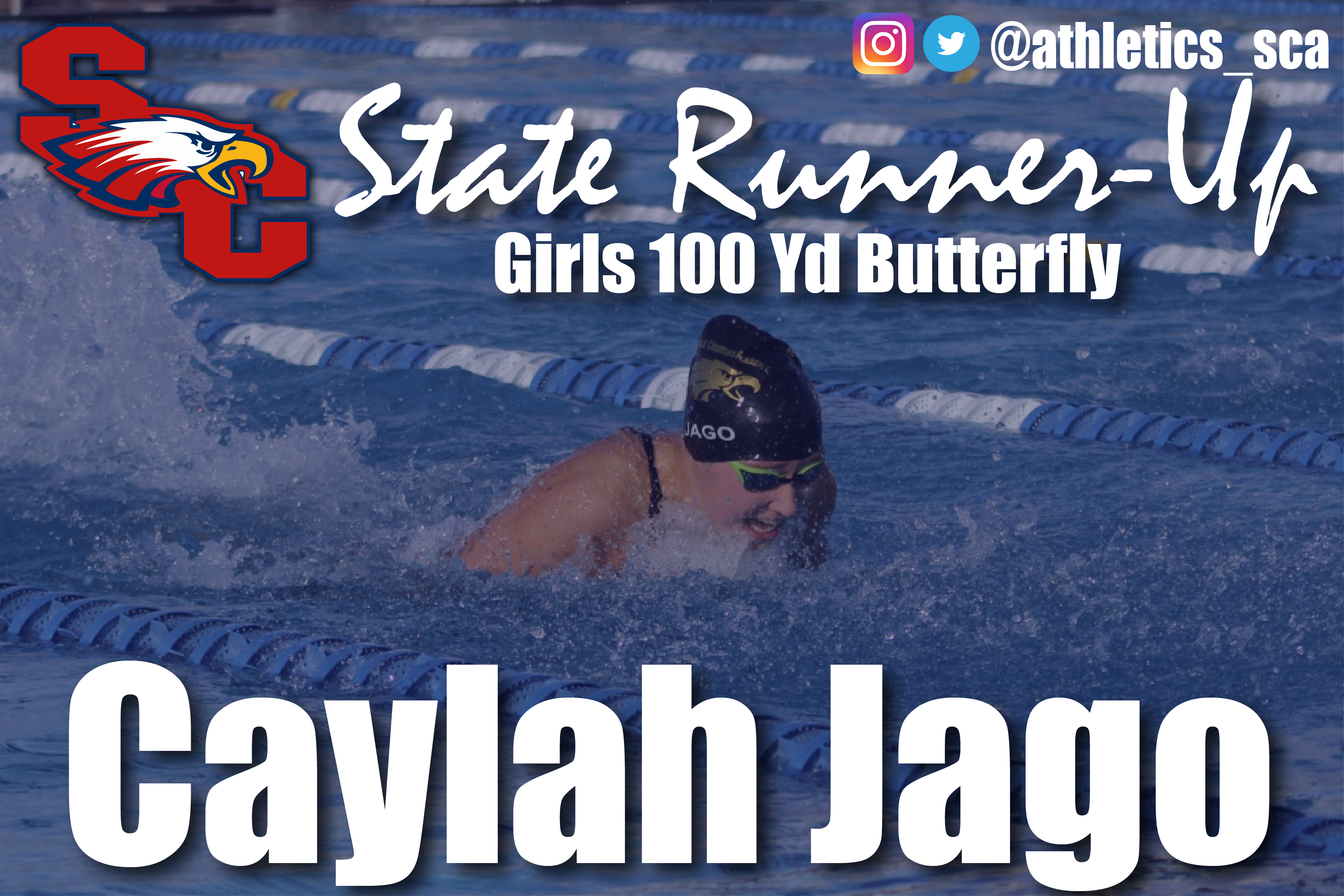 Sophmore Caylah Jago finishes as State Runner-Up in 100 yd Butterfly!