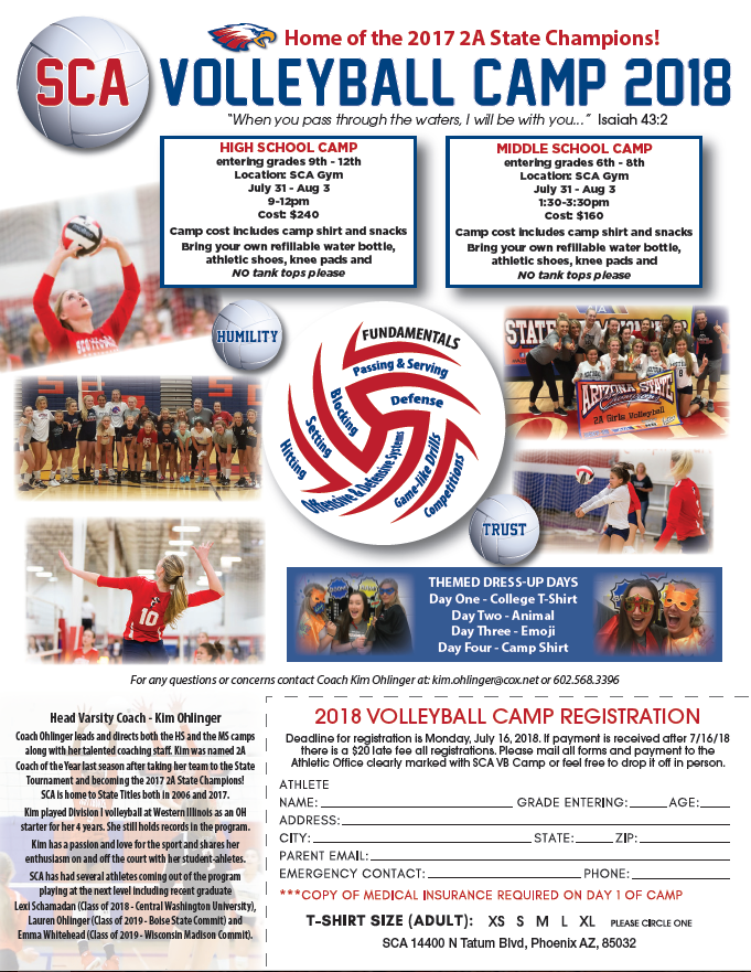 2018 SCA Volleyball Camp Registration Now Open!