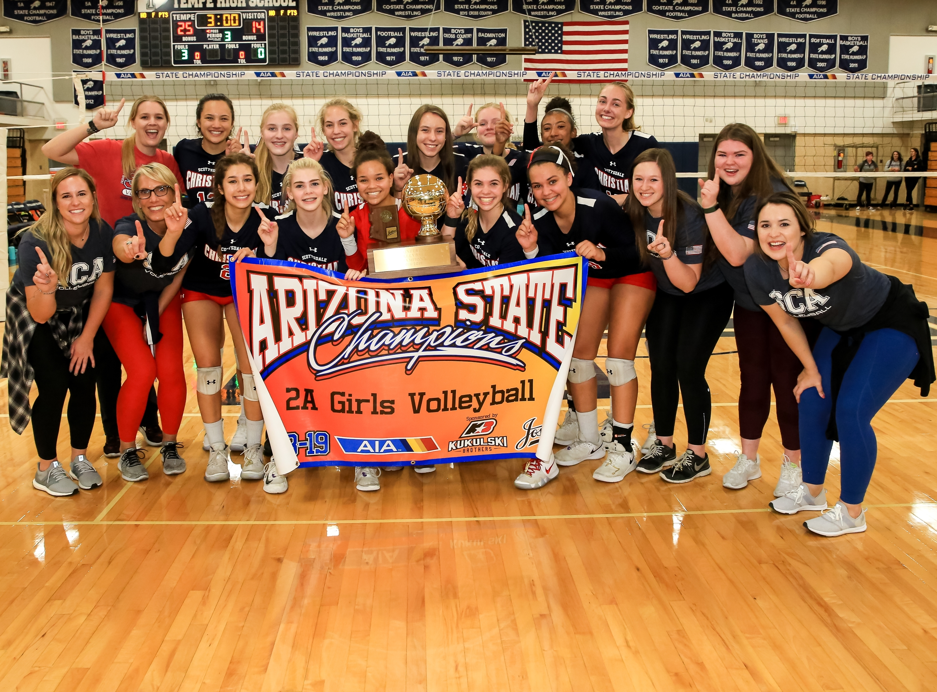 Scottsdale Christian Academy Girls Varsity Volleyball Win the State Championship by beating Glendale Prep 3-0