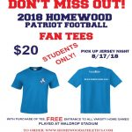 Homewood High School Varsity Football K-8 students fan shirts now on sale