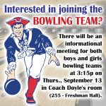 Bowling Team informational meeting set for Thursday, September 13
