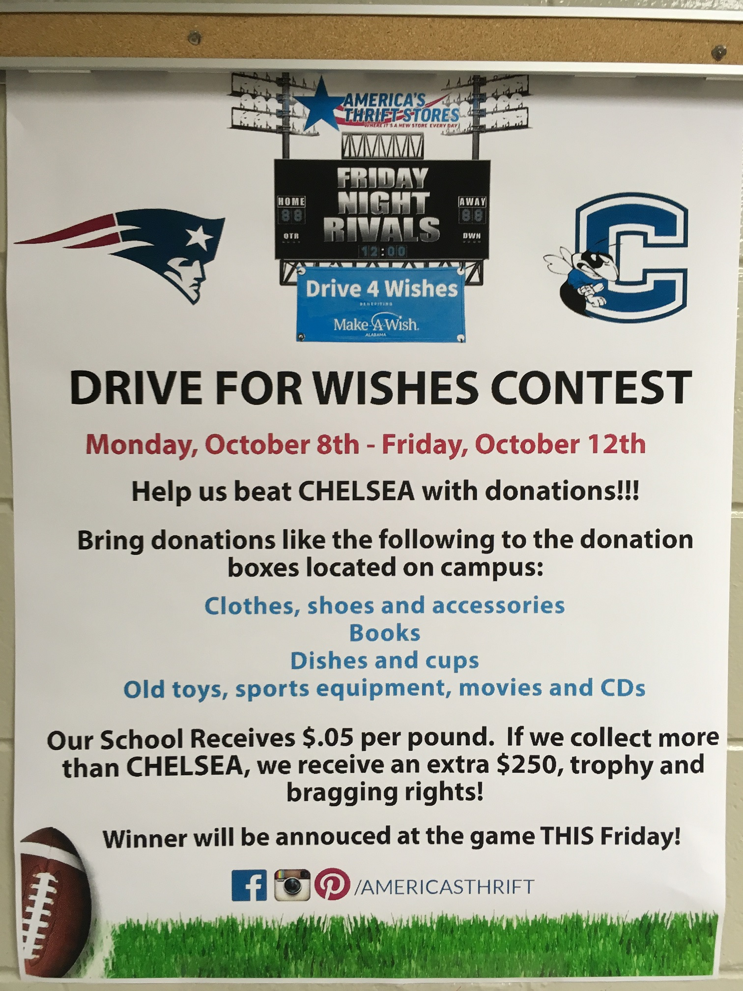 Attention all Patriot Fans:  The Drive for Wishes contest needs you!