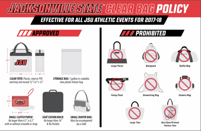 Jacksonville State Clear Bag Policy for Basketball Regionals