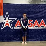 Adele Brandrup wins Para Ambulatory Division State Championship in the 100 Free, breaks State Record