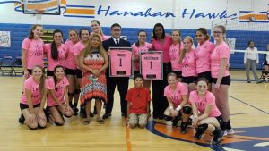 Varsity Volleyball Pink Out Game for Breast Cancer Awareness 10/04/16