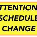 Athletic Schedule Changes