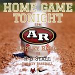 Baseball game vs Stall HOME Tonight at 6pm