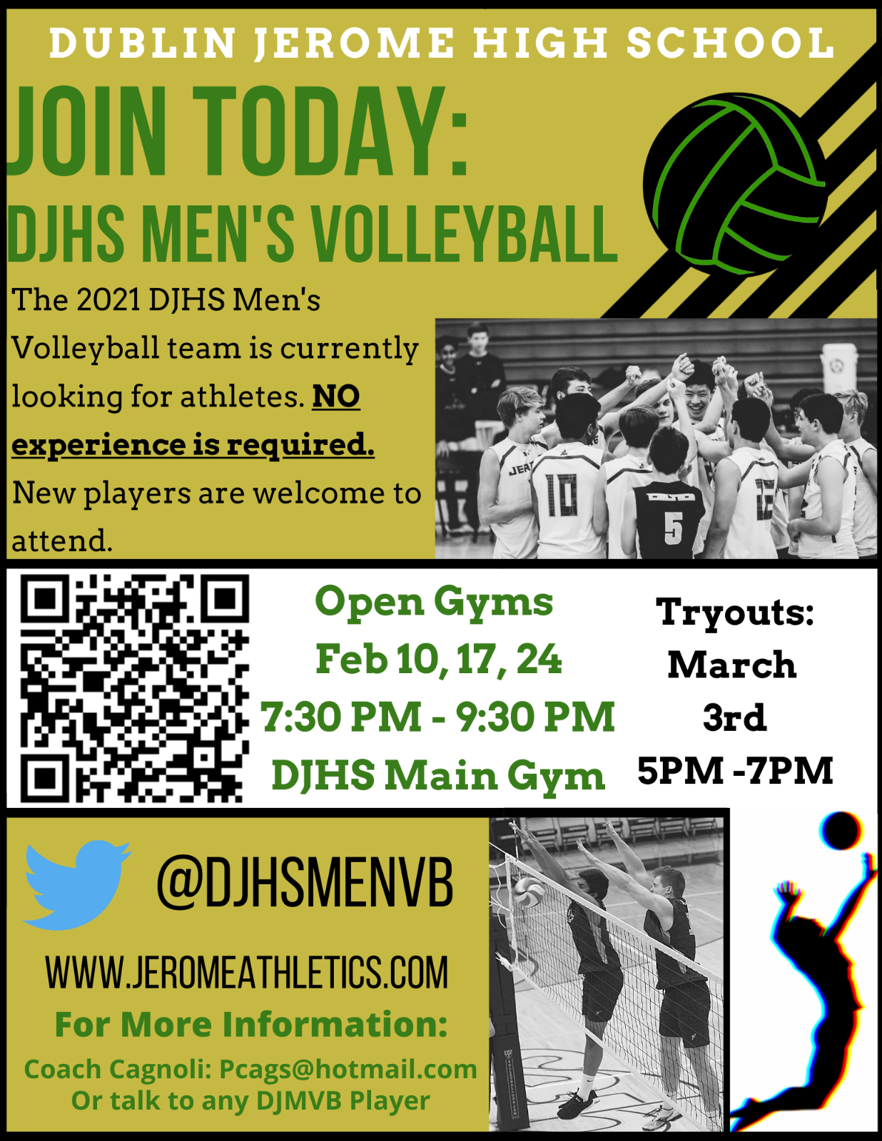 DJHS Boys Volleyball – 2021 Open Gyms and Try-outs