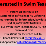 Interested in Swim Team? Parent Meeting September 18th 6pm