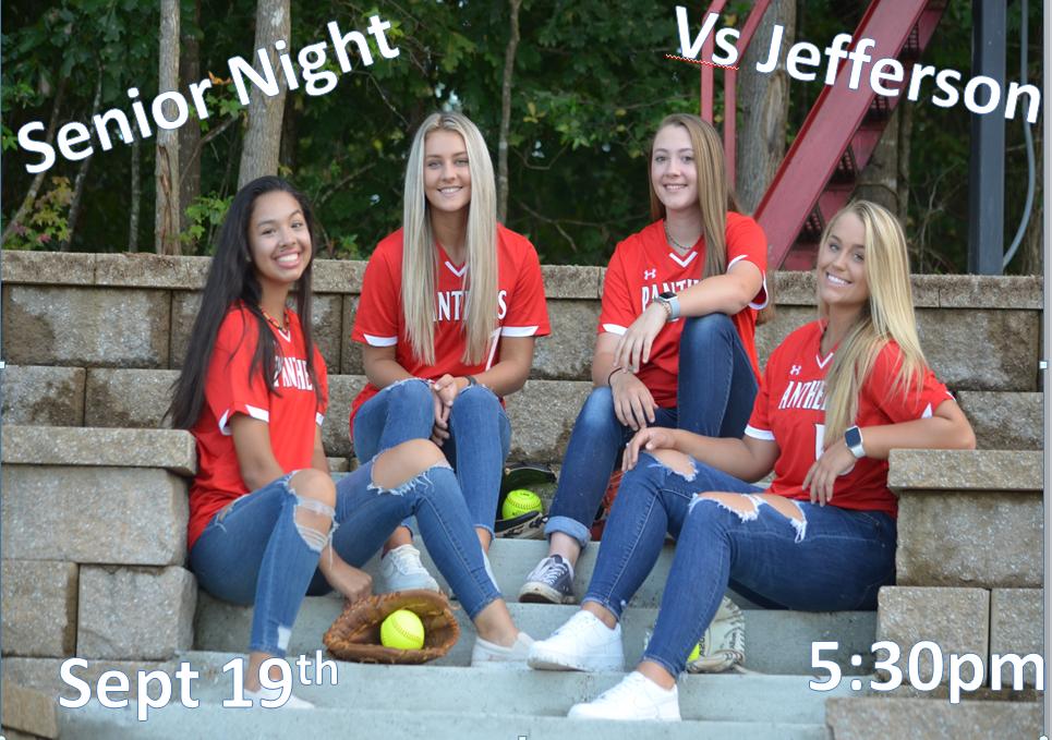 Senior Softball Night Thursday Sept 19th vs Jefferson 5:30pm