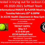 Softball Informational Parent and Player Meeting Tuesday Feb 25th 6:30pm in New Gym!