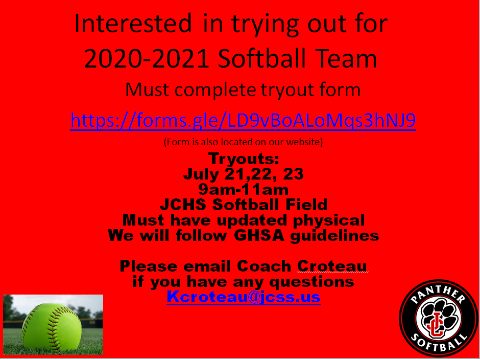 New to JC? Interested in trying out for 2020-2021 Softball Team Tryouts July 21-23